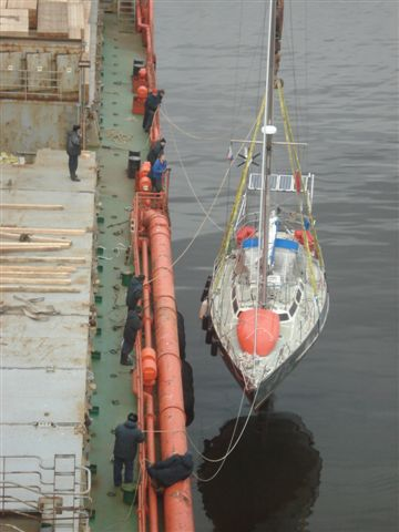 AGXBarrabas being lowered in Murmansk. I am in the light blue jacket